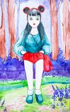 A beautiful young brunette girl with long black hair stands alone in the forest. Dressed in red shorts, blue shirt and carrying a stock illustration