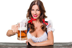Beautiful young brunette girl of oktoberfest beer stein stock image