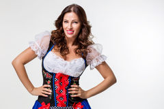 Beautiful young brunette girl of oktoberfest beer stein Royalty Free Stock Image