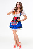Beautiful young brunette girl of oktoberfest beer stein Stock Images