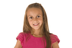 Beautiful young brunette girl in pink top smiling Stock Photography