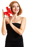 Beautiful young brunette girl with present Royalty Free Stock Photo
