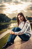 Beautiful young brunette girl Royalty Free Stock Images