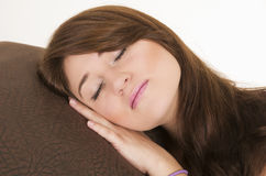 Beautiful young brunette girl sleeping Royalty Free Stock Image