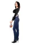 Beautiful young brunette with a handbag Stock Photos