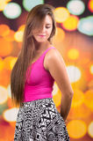 Beautiful young brunette latin long haired girl Stock Photos