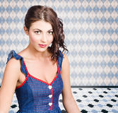 Beautiful young brunette pin-up woman Royalty Free Stock Images