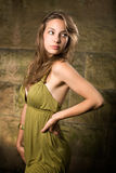 Beautiful young brunette posing in green dress. Stock Images