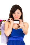 Beautiful young brunette smiling woman shopping Royalty Free Stock Photography