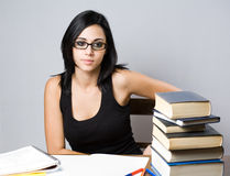Beautiful young brunette student. Stock Image