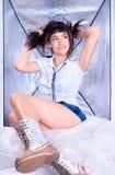 Beautiful young  brunette in white shirt  posing Stock Photo