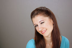 Beautiful Young Brunette Winking (2) Stock Images