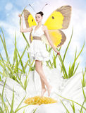 Beautiful young woman as butterfly on spring daisy. Beautiful young brunette woman as butterfly on spring daisy royalty free stock photography