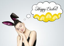 Beautiful young brunette woman as easter bunny Stock Photography