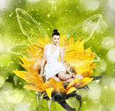 Beautiful young brunette woman as summer fairy on sunflower. Beautiful young brunette woman as summer fairy on yellow flower stock image