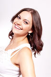 Beautiful young brunette woman with big smile Royalty Free Stock Image