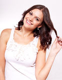 Beautiful young brunette woman with big smile Stock Photography