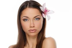 Beautiful young brunette woman Stock Images
