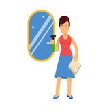 Beautiful young brunette woman cleaning mirror using cleaner sprayer, home cleaning and homework  Illustration. On a white background Stock Images