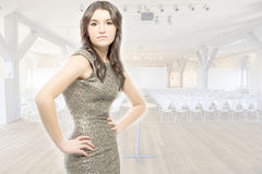 Beautiful woman in an auditorium Stock Photography
