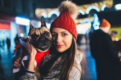 Young woman with her dog city outdoors stock photo
