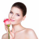 Beautiful young brunette woman with healthy skin. Royalty Free Stock Photography