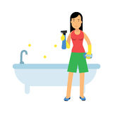 Beautiful young brunette woman housewife cleaning the bathtub in the bathroom, home cleaning and homework  Illustration Stock Images
