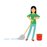 Beautiful young brunette woman housewife cleaning the floor with a mop and a bucket of water, home cleaning and homework  Il. Lustration on a white background Royalty Free Stock Photos