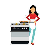 Beautiful young brunette woman housewife cooking in the kitchen,  Illustration Royalty Free Stock Images