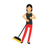 Beautiful young brunette woman housewife sweeping the floor, home cleaning and homework  Illustration Royalty Free Stock Photos