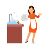 Beautiful young brunette woman housewife washing dishes in the kitchen, home cleaning and homework  Illustration Royalty Free Stock Photography
