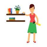 Beautiful young brunette woman housewife wiping dust from shelves, home cleaning and homework  Illustration Royalty Free Stock Image