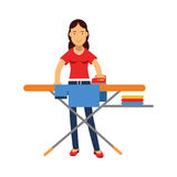 Beautiful young brunette woman ironing clothes on an ironing board, home cleaning and homework  Illustration Stock Photography