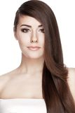 Beautiful young brunette woman with long hair hair Stock Photography