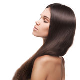 Beautiful young brunette woman with long straight hair Stock Image