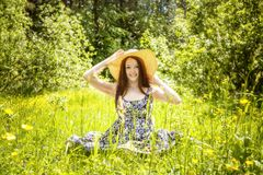 Beautiful young brunette woman on the meadow Stock Images