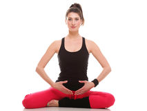 Beautiful young brunette woman and meditation fitness Royalty Free Stock Images