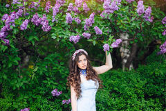 Beautiful young brunette woman in the park flowers lilac Royalty Free Stock Image