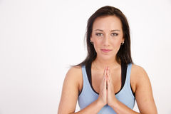 Beautiful Young Brunette Woman Practicing Yoga Meditation Pose Royalty Free Stock Image