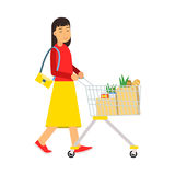 Beautiful young brunette woman with shopping cart, shopping in the supermarket  Illustration Stock Photography