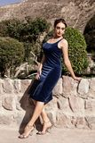 Beautiful young brunette woman in a velvet blue evening dress with a clutch, posing in nature. stock photo