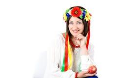 Beautiful young brunette woman wearing national ukrainian clothe Stock Photos