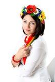 Beautiful young brunette woman wearing national ukrainian clothe Stock Photo