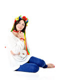 Beautiful young brunette woman wearing national ukrainian clothe Royalty Free Stock Photo