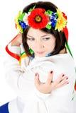 Beautiful young brunette woman wearing national ukrainian clothe Royalty Free Stock Image