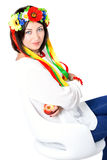 Beautiful young brunette woman wearing national ukrainian clothe Royalty Free Stock Images