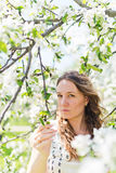 Beautiful young brunette womannear the apple tree Stock Images