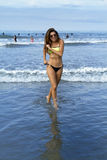 Beautiful Young Brunette Womans Enjoys The Beach Royalty Free Stock Image