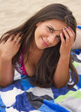 Beautiful Young Brunette Womans Enjoys The Beach Stock Image