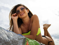 Beautiful Young Brunette Womans Enjoys The Beach Royalty Free Stock Photos